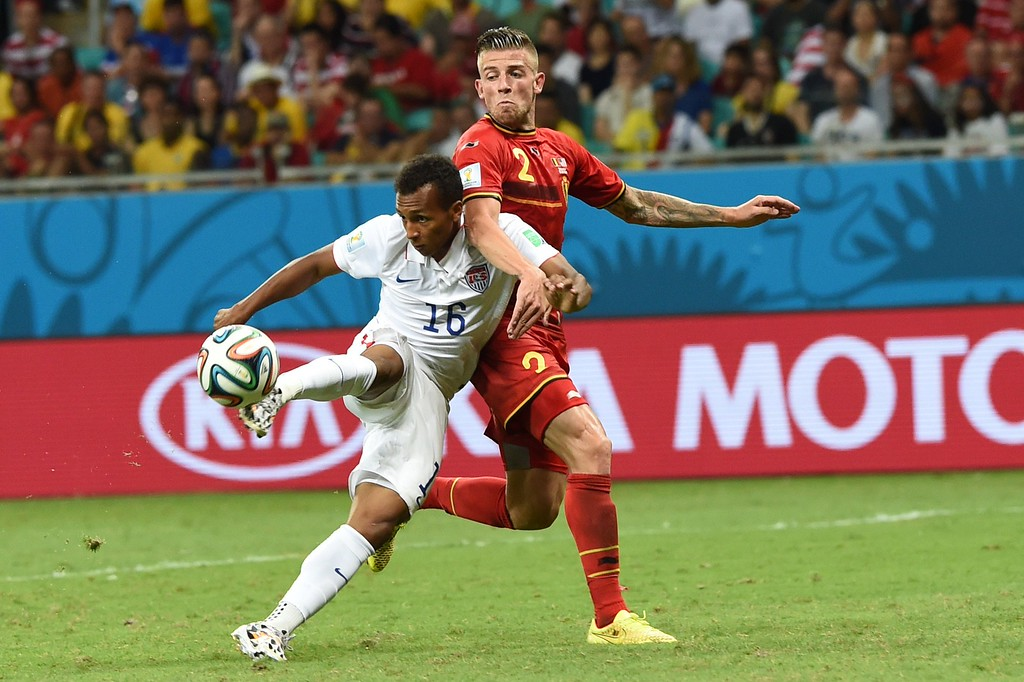 . US midfielder Julian Green (L) scores past Belgium\'s defender Toby Alderweireld during the second half of extra-time in the Round of 16 football match between Belgium and USA at Fonte Nova Arena in Salvador during the 2014 FIFA World Cup on July 1, 2014.      AFP PHOTO/ FRANCISCO  LEONG/AFP/Getty Images