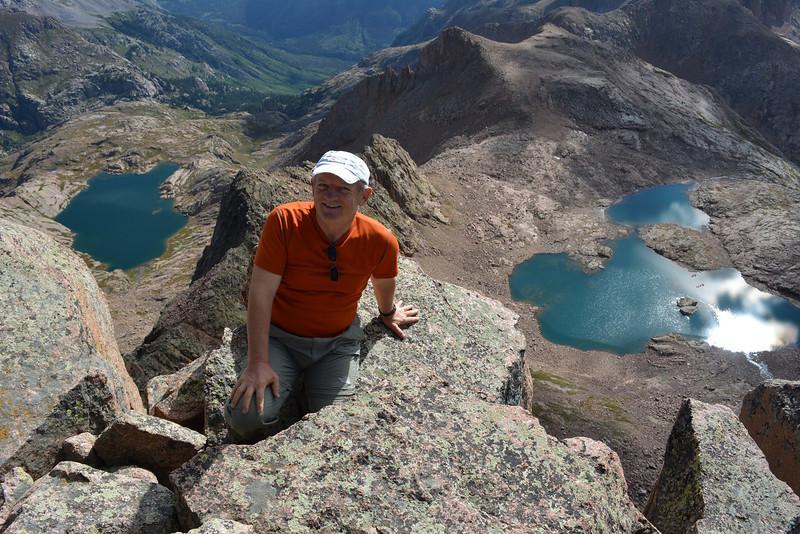 At Windom Peak (14,082ft = 4.292m) with glacier lakes behind.