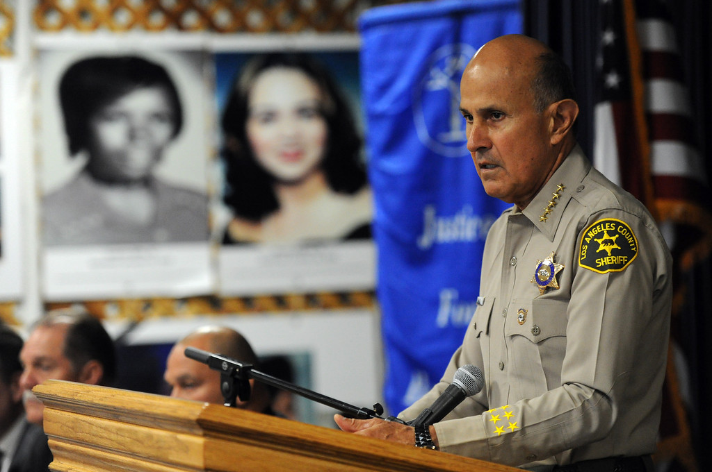 . Los Angeles County Sheriff Lee Baca speaks during a Los Angeles County Sheriff�s Department and Justice for Murdered Children unsolved homicide summit at the Los Angeles County Sheriff\'s headquarters on Saturday, July 20, 2013 in Monterey Park, Calif.  (Keith Birmingham/Pasadena Star-News)