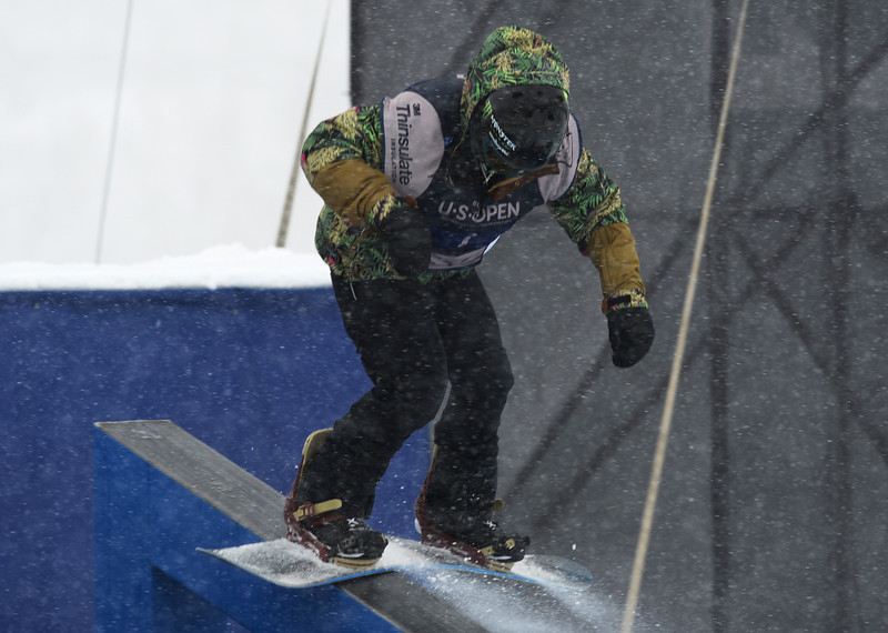 . Darcy Sharpe of Canada is in action during the men\'s slope style final of the Burton U.S. Open. Vail, Colorado. March 7. 2014. (Photo by Hyoung Chang/The Denver Post)