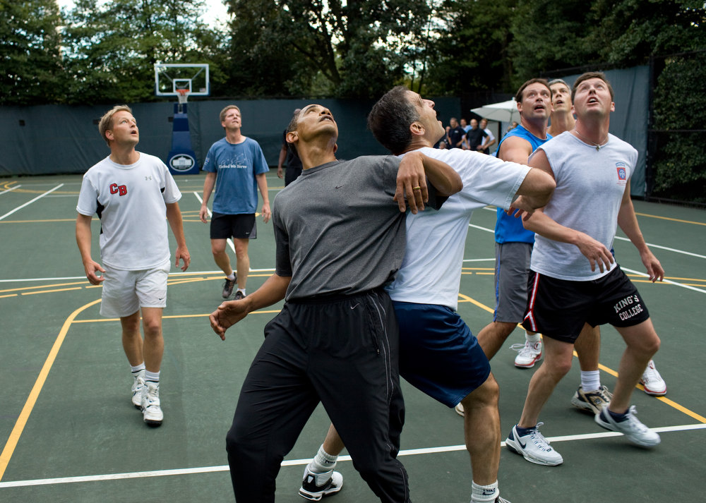 "Description of . Oct. 8, 2009 ""The President jockeys for a rebound with Congressmen during a basketball game at the White House. I think opponents are always surprised at how tough and competitive he can be."" (Official White House photo by Pete Souza)"