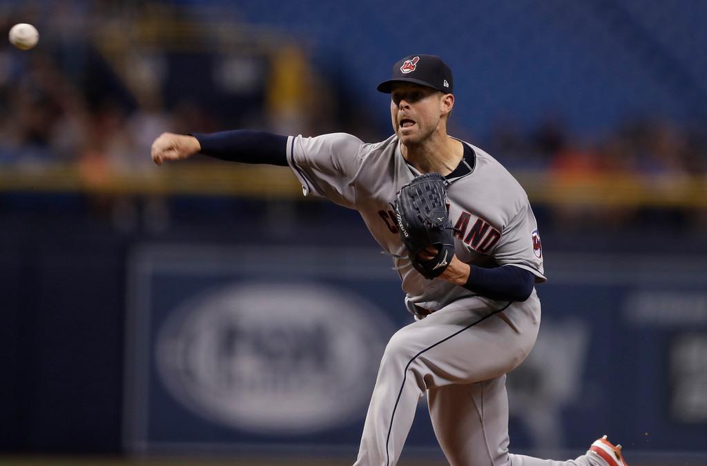 . Cleveland Indians pitcher Corey Kluber during the first inning of a baseball game against the Tampa Bay Rays Monday, Sept. 10, 2018, in St. Petersburg, Fla. (AP Photo/Chris O\'Meara)