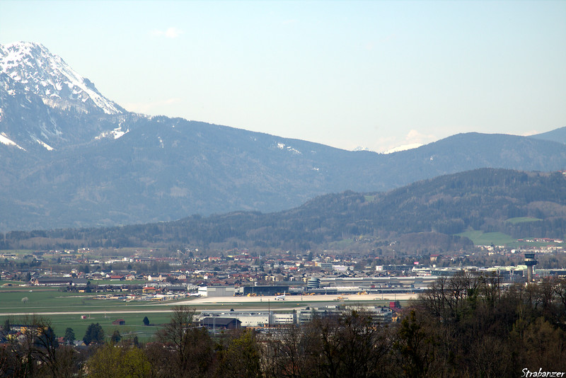 Tele shot of Salzburg Airport from Hohensalzburg