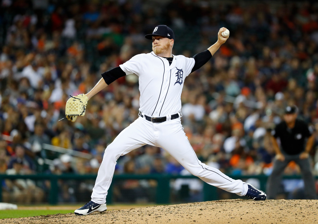 . Detroit Tigers relief pitcher Daniel Stumpf throws against the Cleveland Indians in the eighth inning of a baseball game in Detroit, Friday, July 27, 2018. (AP Photo/Paul Sancya)