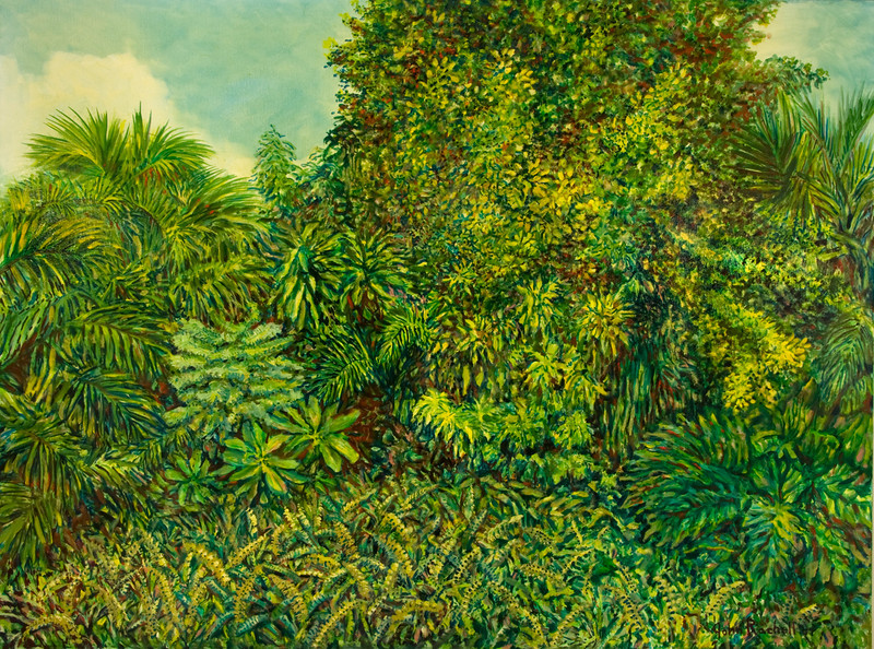"""©John Rachell Title: The Garden, August 28, 2007 Image Size: 48""""  x 36"""" d Dated: 2007 Medium and Support: Oil paint on canvas Signed: LL Signature"""