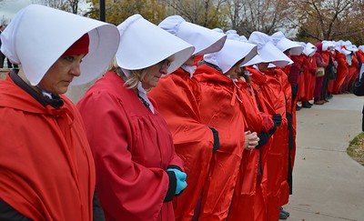 """Handmaids"" Protest Vice President Pence at Denver Fundraiser - 10/26/17"