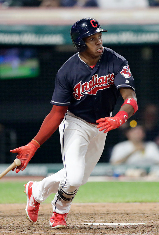 . Cleveland Indians\' Greg Allen grounds into a fielders choice in the sixth inning of a baseball game against the Minnesota Twins, Tuesday, Aug. 28, 2018, in Cleveland. Jason Kipnis scored on the play. (AP Photo/Tony Dejak)