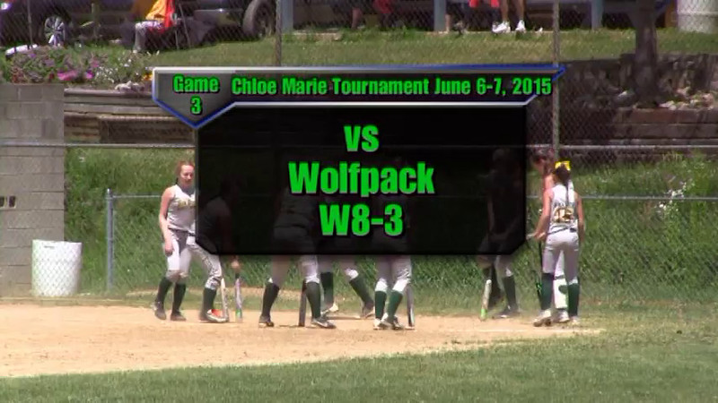 Sundogs June 6-7, 2015 Chloe Marie Tournament Game 3 vs Wolfpack W8-3