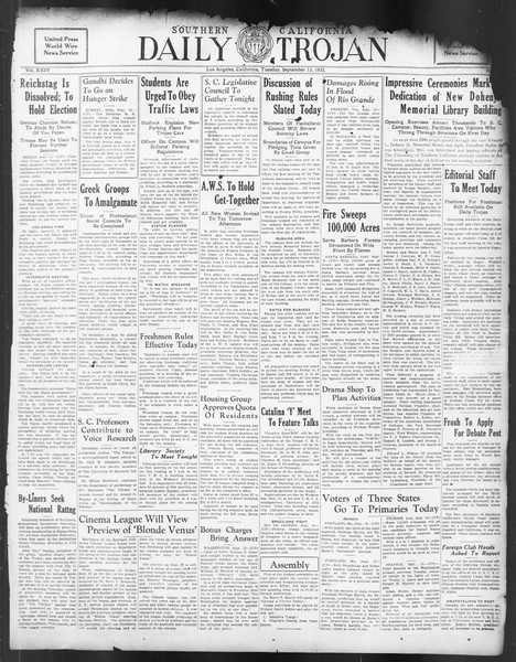 Daily Trojan, Vol. 24, No. 3, September 13, 1932