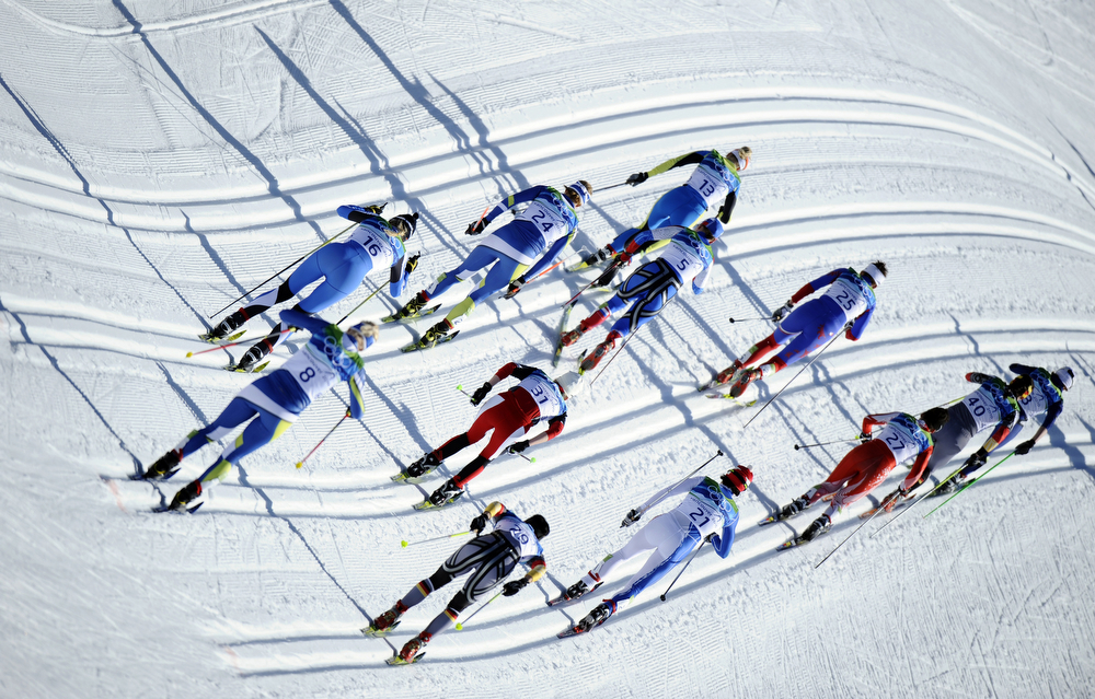 . Athletes compete in the women\'s Cross-Country Skiing 15km pursuit final at Whistler Olympic Park during the Vancouver Winter Olympics on February 19, 2010.  Bjoergen took the gold medal.   (FRANCK FIFE/AFP/Getty Images)