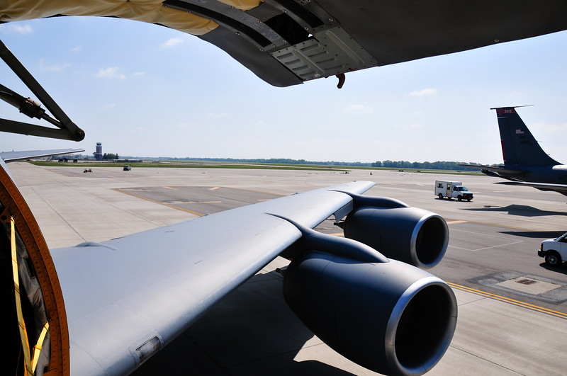 Looking out the cargo door of a KC-135