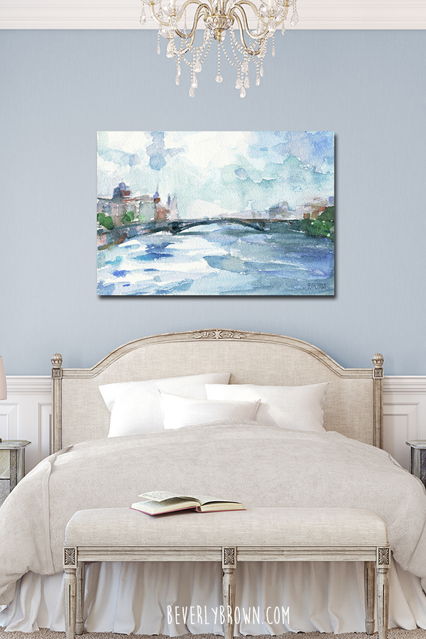 Feminine Bedroom with Powder Blue Walls and Paris Seine French Blue Canvas Art