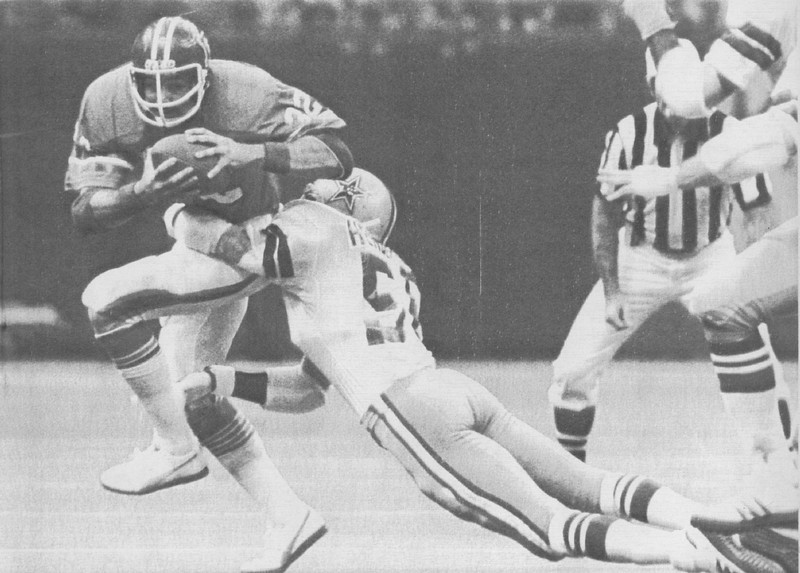 . The Cowboys defensive team dominated most of Super Bowl XII, forcing 8 turnovers and allowing only 8 pass completions by the Broncos for just 61 yards. Two of those interceptions led to 10 first-quarter points. Denver lost 27-10.    New Orleans: Denver\'s Jon Keyworth (32) is brought down for a loss by the Dallas Cowboys\' Tom Henderson (56) during the 1st series of downs by the Broncos in the Super Bowl. Denver Post
