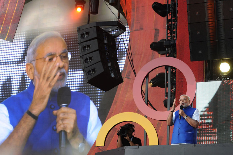 . Indian Prime Minister Narendra Modi addresses the Global Citizen Festival, at Central Park, in New York City. India\'s new Prime Minister Narendra Modi in his UN debut September 27 presented a worldview shaped by ancient tradition, promoting multilateralism as well as yoga.  AFP PHOTO / PIB