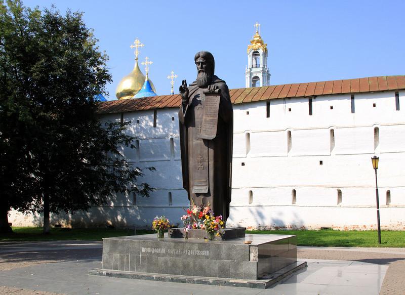 Trinity Monastery of St Sergius, Sergiev Posad - Statue to St Sergius outside the monastery.