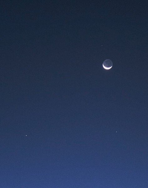 Lunar conjunction with Saturn, Mercury and Zubenelgenubi - 7/10/2013 (Processed cropped image)
