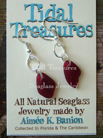 Extremely Rare Deep Red Seaglass Earrings by Aimee K. Wiles Banion