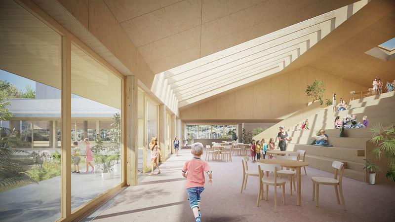 Perspective intérieure - Pelletier de Fontenay + Leclerc architecte - Lauréat Lab-École - Shefford