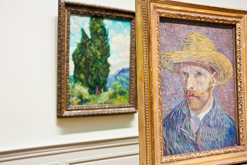 Self-Portrait with a Straw Hat; 1887; Cypresses; 1889; Vincent van Gogh
