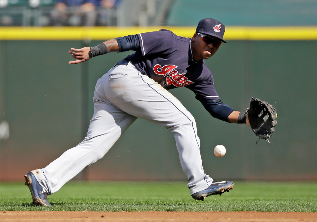 . Cleveland Indians second baseman Jose Ramirez in action against the Seattle Mariners in a baseball game Saturday, Sept. 23, 2017, in Seattle. (AP Photo/Elaine Thompson)