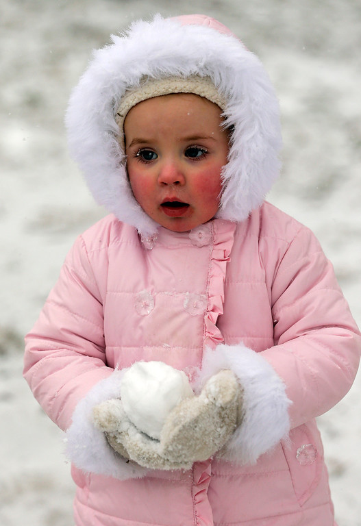 . Bella Mapes, 2, of Charlotte, N.C., carries a snowball as she walks with her family in a park in Charlotte, N.C., Wednesday, Feb. 12, 2014. The National Weather Service has issued a winter storm warning for Wednesday and into Thursday covering 95 of the state\'s 100 counties in North Carolina. (AP Photo/Chuck Burton)