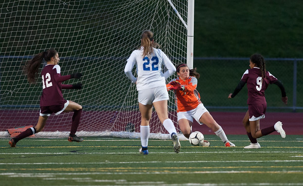 10/29/18 Wesley Bunnell | Staff Bristol Central girls soccer hosting Bristol Eastern on Monday evening. Adalia Malick (12) and Mia Hinton (9) with a shot on goal which was saved by Goal Keeper Ava Gilbert .