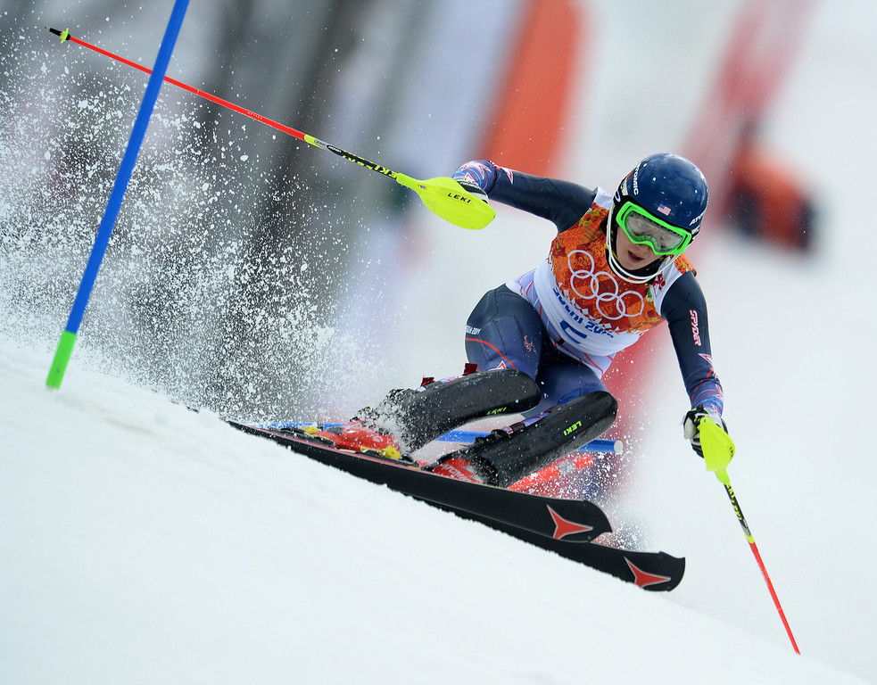 . Mikaela Shiffrin of the US in action during the first run of the Women\'s Slalom race at the Rosa Khutor Alpine Center during the Sochi 2014 Olympic Games, Krasnaya Polyana, Russia, 21February 2014.  EPA/VASSIL DONEV