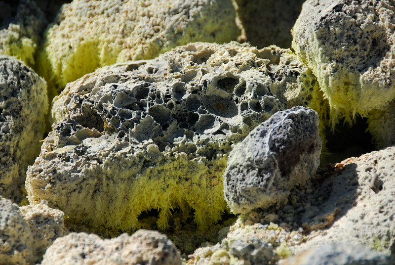 Corroded rocks near a sulfer vent at Sulfer Banks in Volcanoes National Park