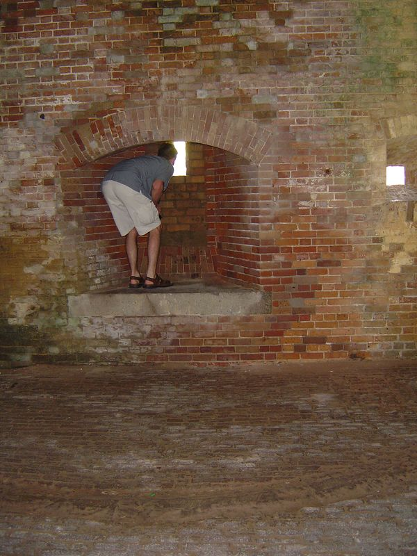 Miles keeping watch for intruders at Fort Morgan.