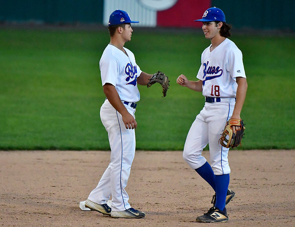 8/8/2019 Mike Orazzi | Staff The Bristol Blues' Kyle Maves (1) and Zeke Diamond (18) during Thursday evenings playoff game with the North Shore Navigators at Muzzy Field in Bristol.