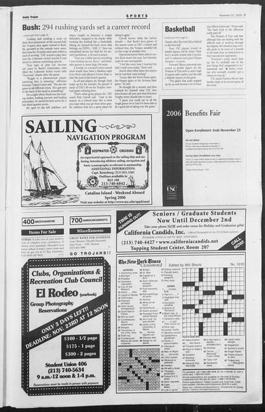 Daily Trojan, Vol. 156, No. 63, November 21, 2005
