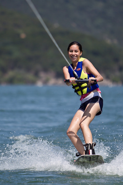 Jamie on her new wakeboard