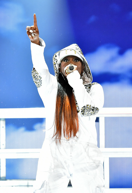 . Rapper Missy Elliott performs onstage during the BET AWARDS \'14 at Nokia Theatre L.A. LIVE on June 29, 2014 in Los Angeles, California.  (Photo by Kevin Winter/Getty Images for BET)