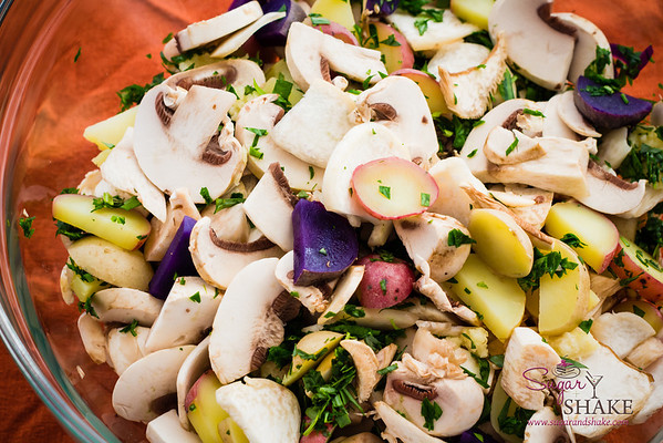 A colorful and flavorful mix of mushrooms, potatoes and herbs. © 2013 Sugar + Shake