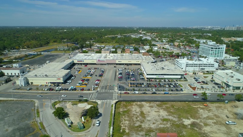 Aerial footage Miami Biscayne Boulevard and 79th Street Midpoint mall plaza