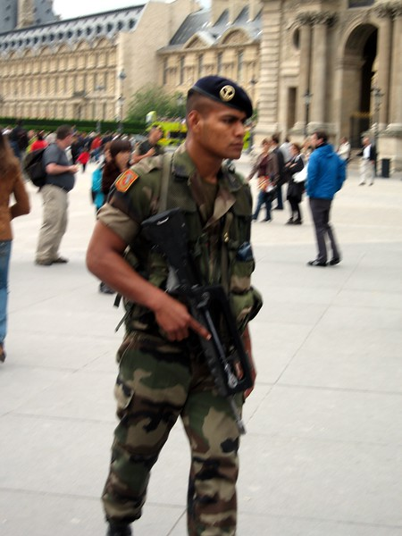 Soldier at The Louvre Museum in Paris