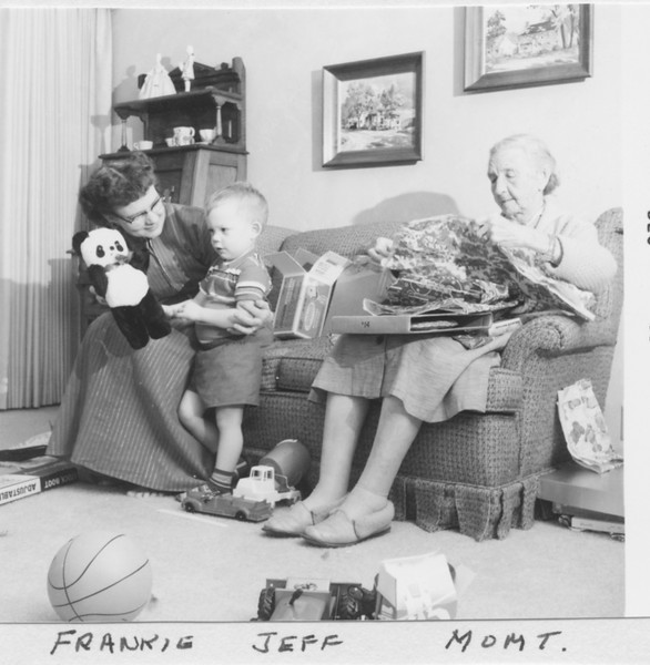 Frankie, Jeff, Grandma Trogdon. This is probably Christmas 1959