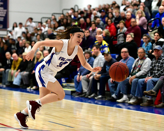 2/28/2019 Mike Orazzi | Staff St. Paul Girls Basketball's Olivia Stump (12) during the Class S Second Round State Girls Basketball Tournament in Bristol Thursday night.