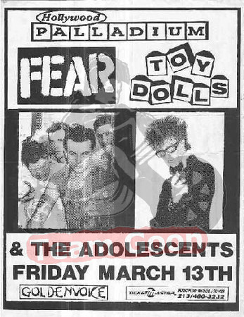 FEAR - Toy Dolls - The Adolescents - at The Hollywood Palladium