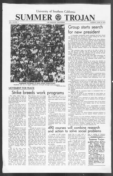 Summer Trojan, Vol. 62, No. 1, June 16, 1970