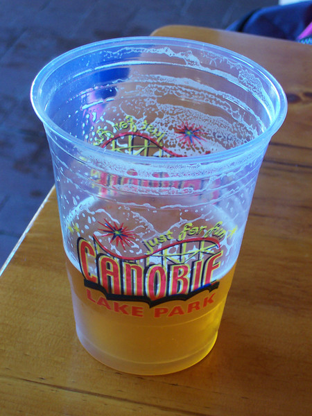 """New """"Just for Fun"""" themed cups. This one contains Red Hook Longhammer IPA."""