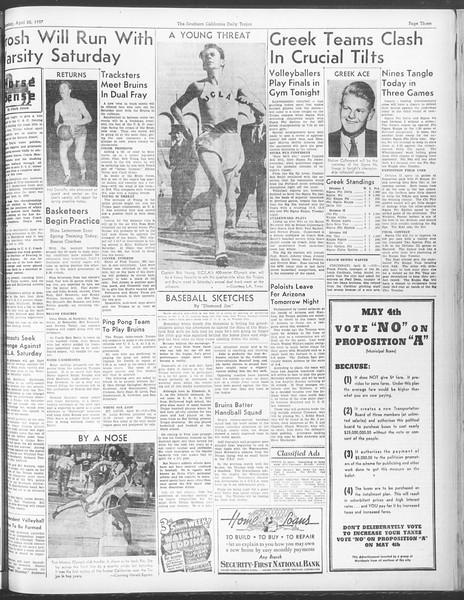 Daily Trojan, Vol. 28, No. 121, April 22, 1937