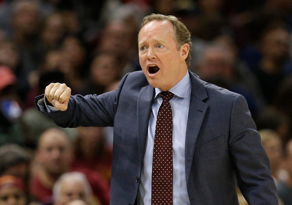 . Atlanta Hawks head coach Mike Budenholzer reacts in the second half of an NBA basketball game against the Cleveland Cavaliers, Sunday, Nov. 5, 2017, in Cleveland. (AP Photo/Tony Dejak)