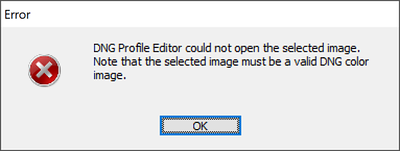 DNG Profile Editor could not open the selected image.
