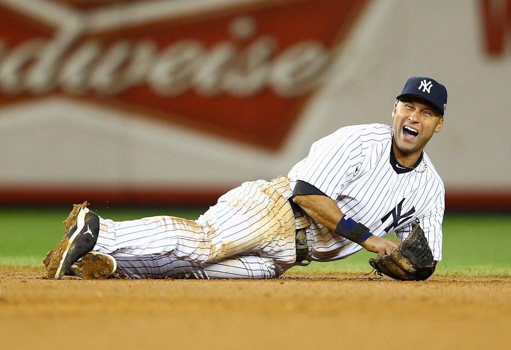 """. <p><b> New York Yankees captain Derek Jeter has announced that, as of the end of the 2014 season, he will stop � </b> <p> A. Playing major league baseball <p> B. Being a shortstop <p> C. Giving all of his dates a morning-after souvenir bag <p><b><a href=\'http://nypost.com/2011/12/13/jeter-gives-autograph-swag-to-one-night-stands/\' target=\""""_blank\"""">HUH?</a></b> <p>    (Al Bello/Getty Images)"""