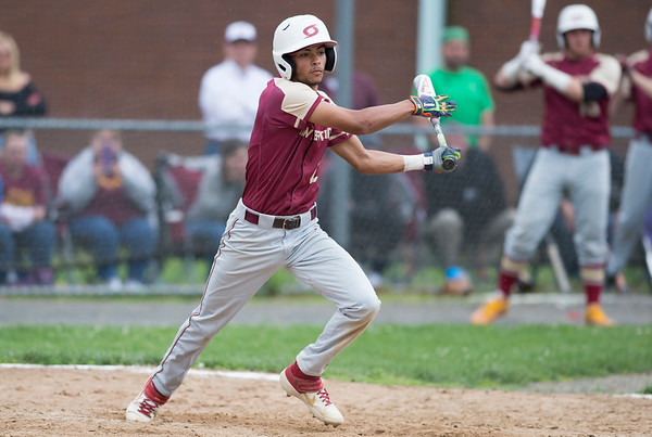 05/29/19 Wesley Bunnell | Staff New Britain and Southington baseball played to a 2-2 tie in the bottom of the 10th inning before the game was postponed due to rain. The game is scheduled to resume May 30th at 3:00pm. Justin Adorno (2).