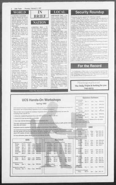 Daily Trojan, Vol. 117, No. 16, February 06, 1992