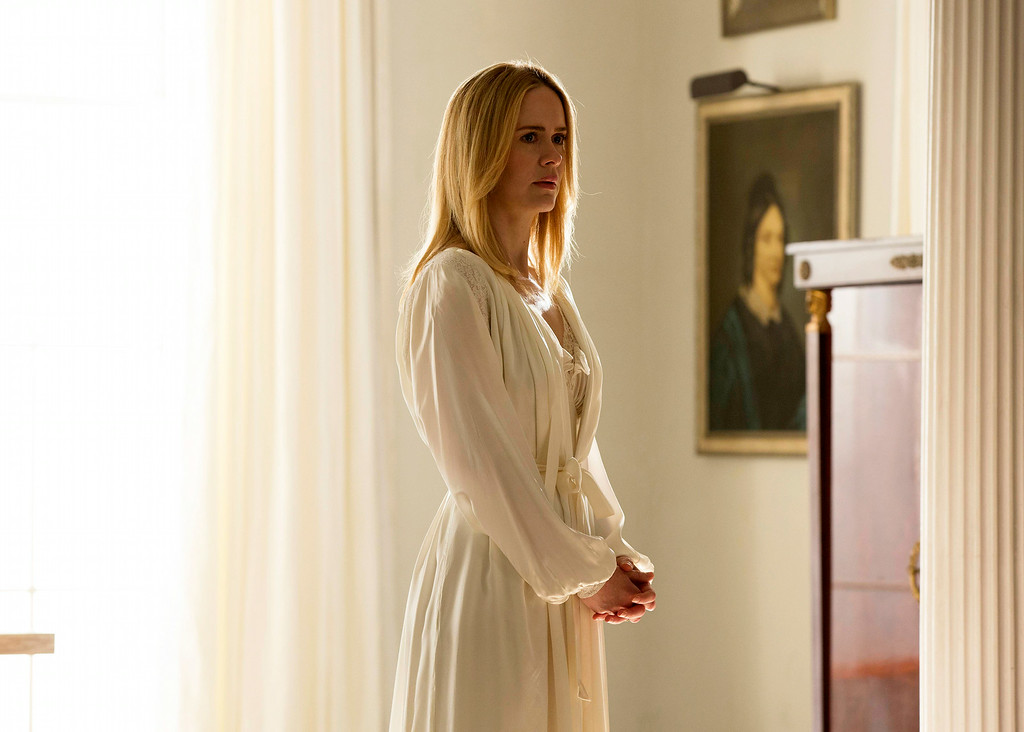 """. This image released by FX shows Sarah Paulson as Cordelia in a scene from \""""American Horror Story: Coven.\"""" Paulson was nominated for an Emmy Award for best actress in a miniseries or movie on Thursday, July 10, 2014. The 66th Primetime Emmy Awards will be presented Aug. 25 at the Nokia Theatre in Los Angeles. (AP Photo/FX, Michele K. Short)"""