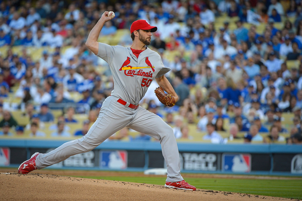 . Cardinals\' Adam Wainwright pitches against the Dodgers in the NLCS game 3 at Dodger Stadium Monday, October 14, 2013 ( Photo by Andy Holzman/Los Angeles Daily News )