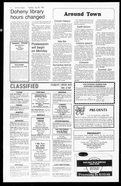Summer Trojan, Vol. 67, No. 12, July 30, 1974